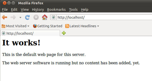 The default apache web page at localhost