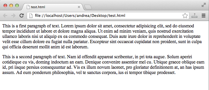 Paragraph tag, browser output