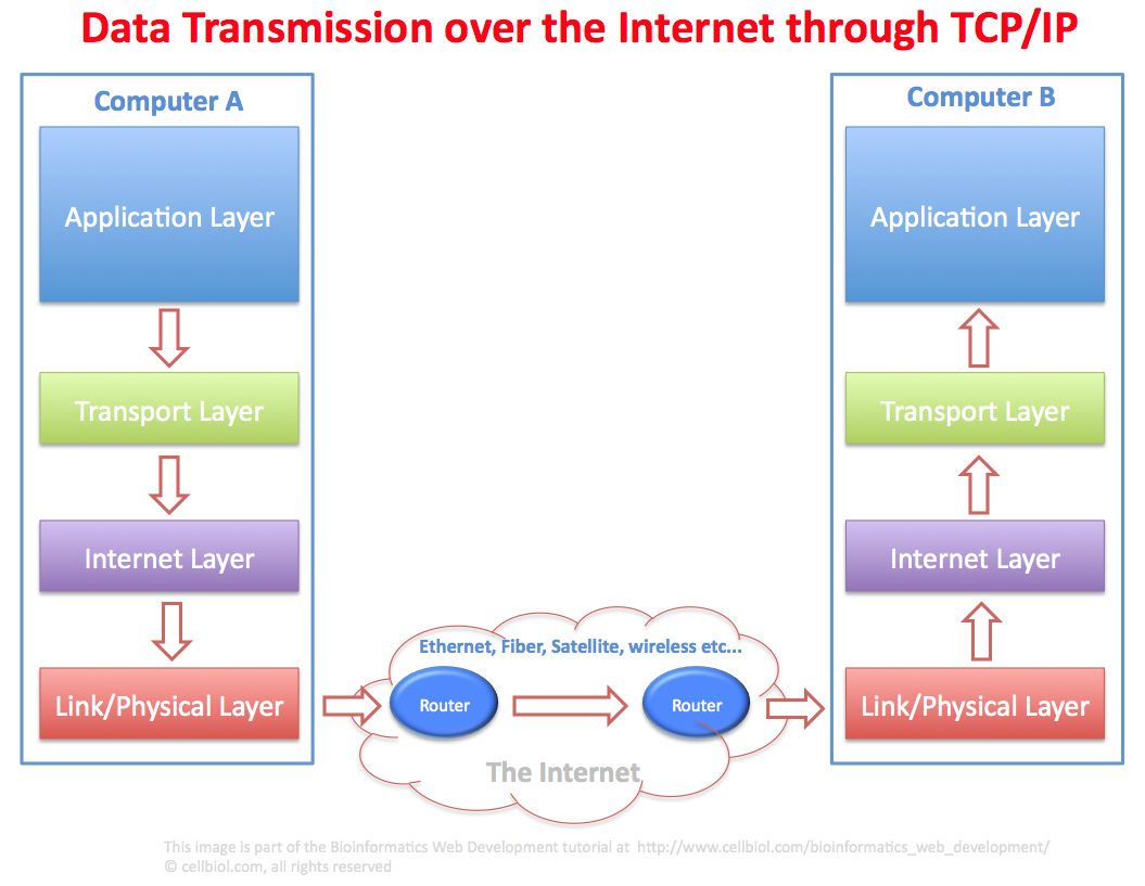 Data transmission over the Internet through TCP/IP