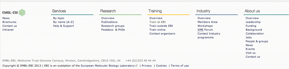 The footer of the EBI website