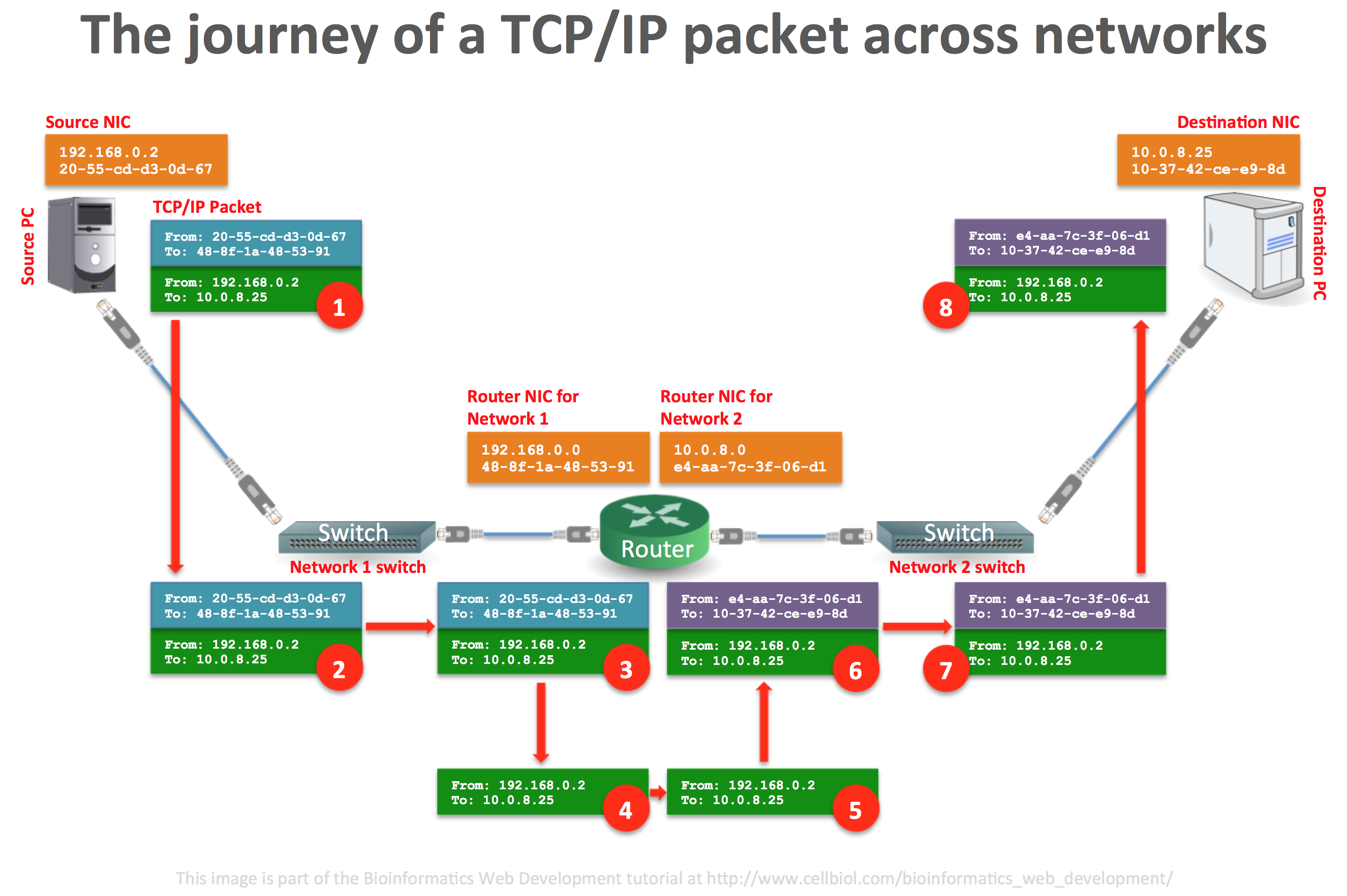 The journey of a tcp ip packet across networks