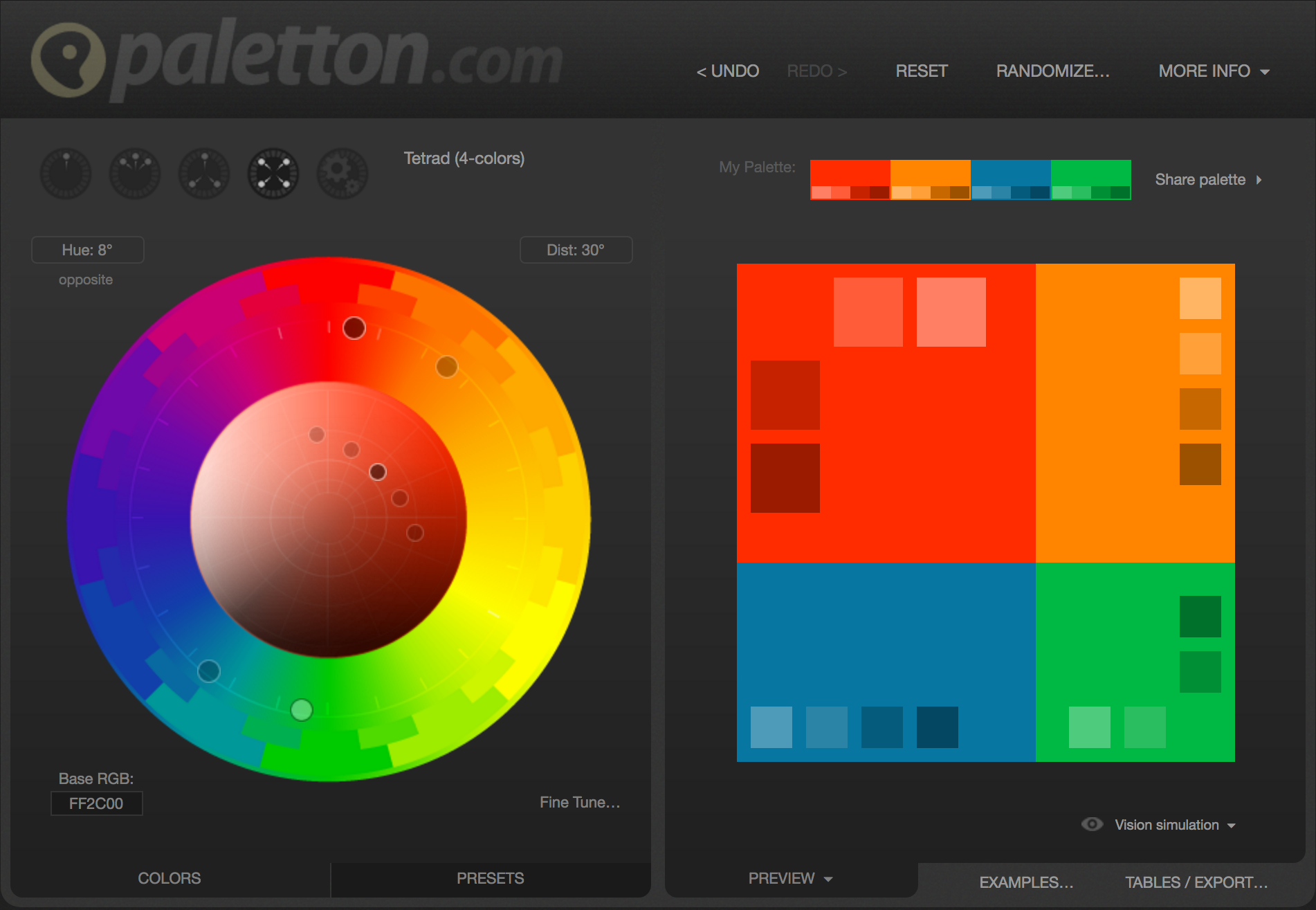 The color scheme selected at paletton.com for our sample page
