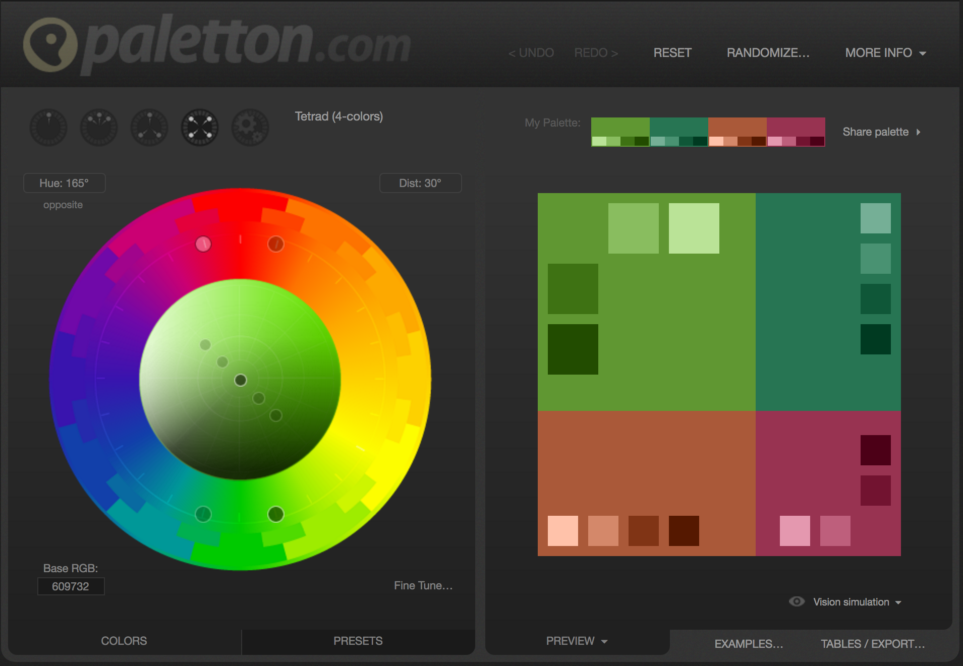 The paletton.com colors manipulation interface