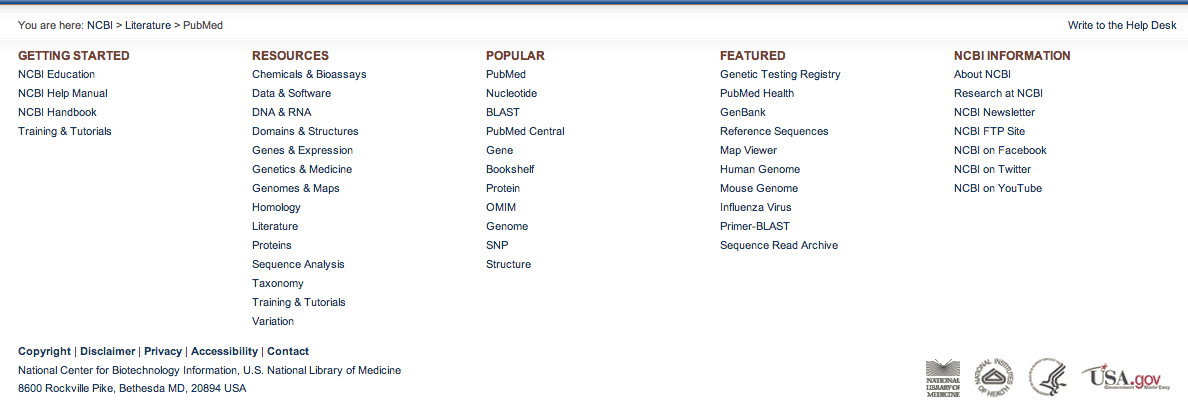 The footer of the NCBI Pubmed website