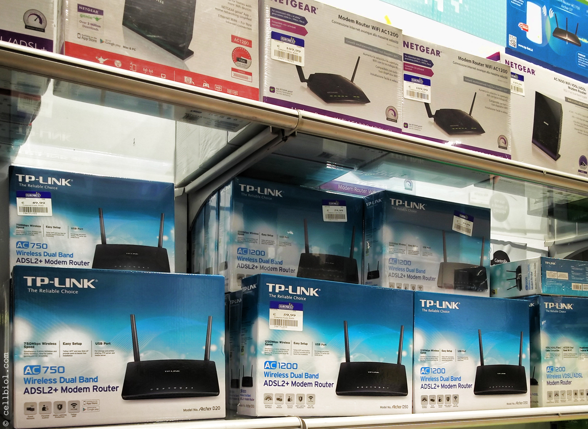 SOHO routers for sale in a consumer electronics store allow the easy set up of an home or small office local network connected to the Internet