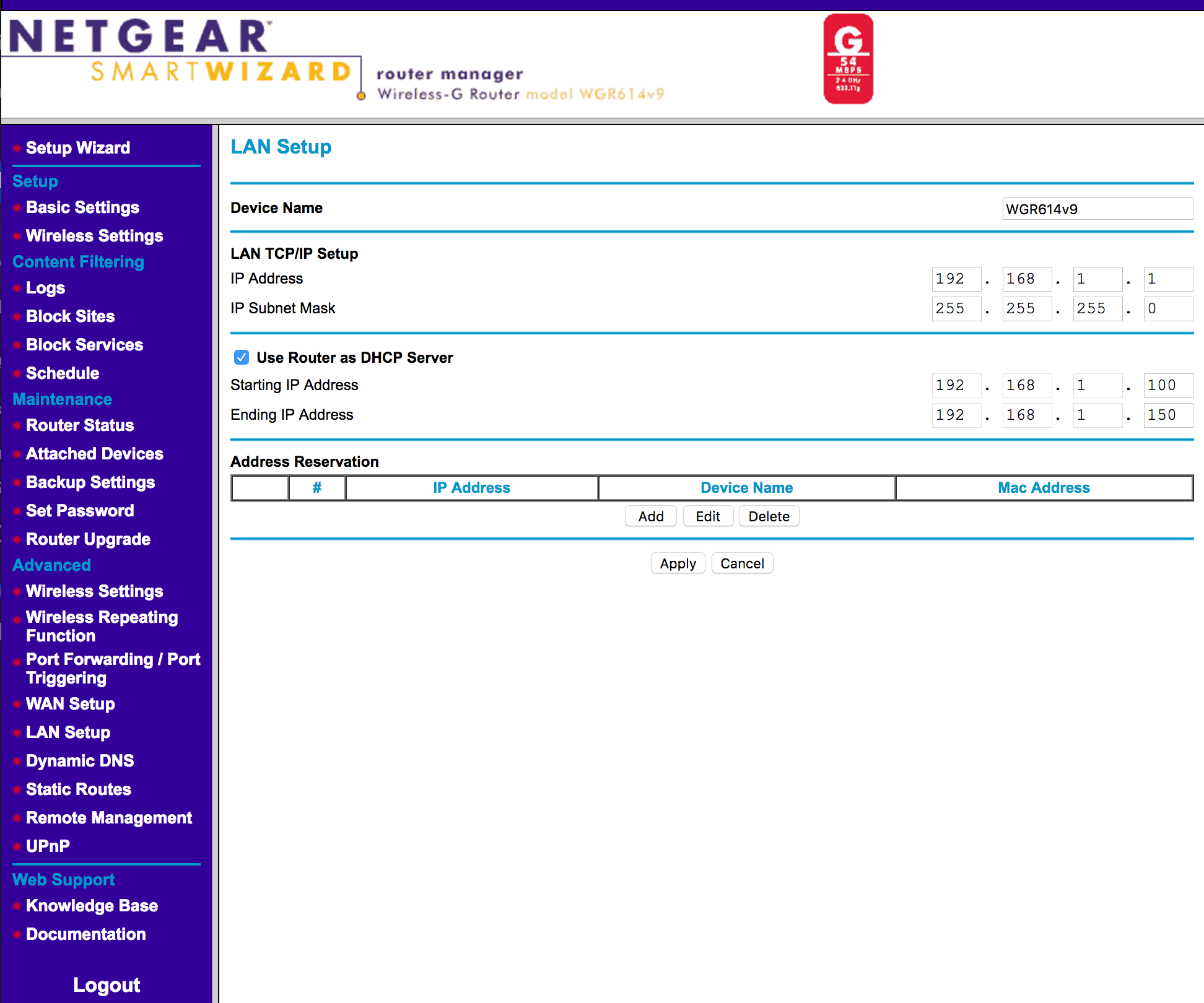 The LAN setup page of a Netgear SOHO router.