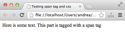 Using a span tag without CSS specifications does nothing special to the tagged text