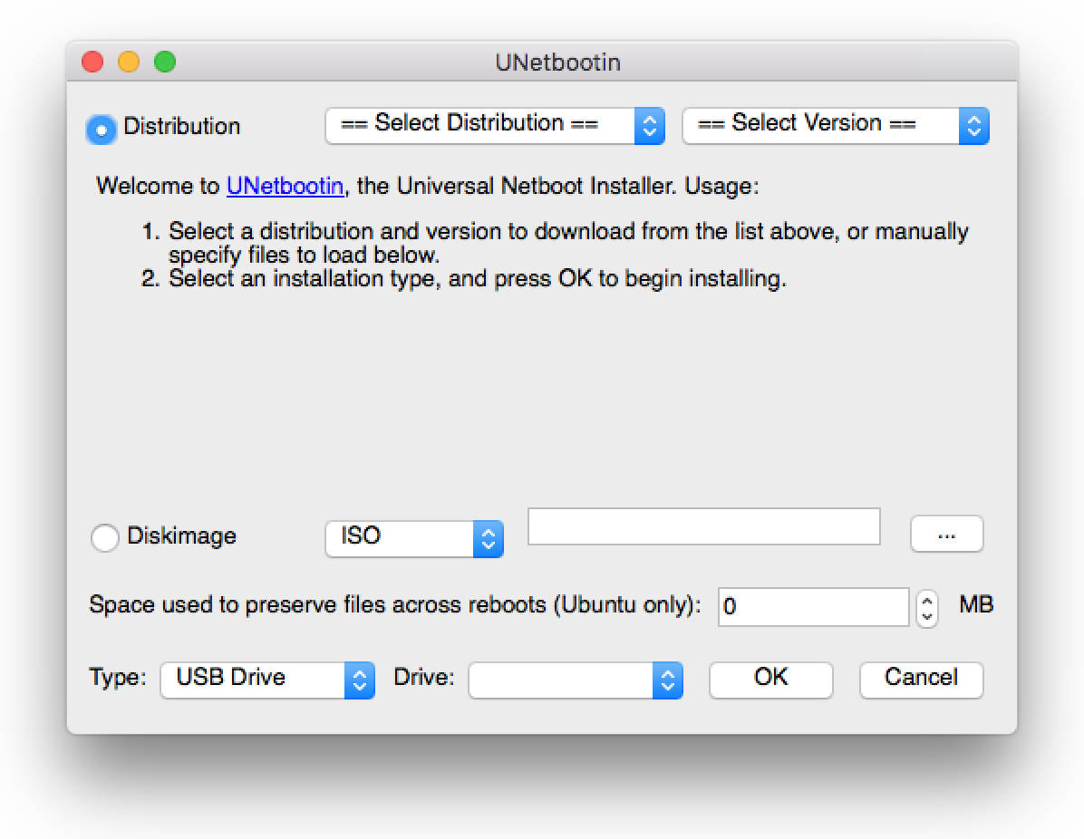 UNetbootin software, Mac version