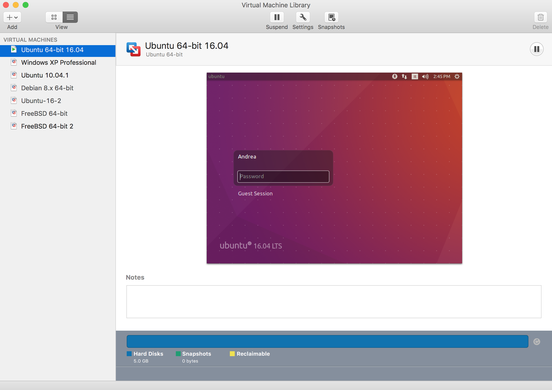 Vmware Fusion interface for the virtual machines library. When a machine is booted, it will actually run in a distinct window that can then be made full screen. This installation is hosting three Ubuntu virtual machine, a Debian virtual machine, two BSD machines and windows XP machine.