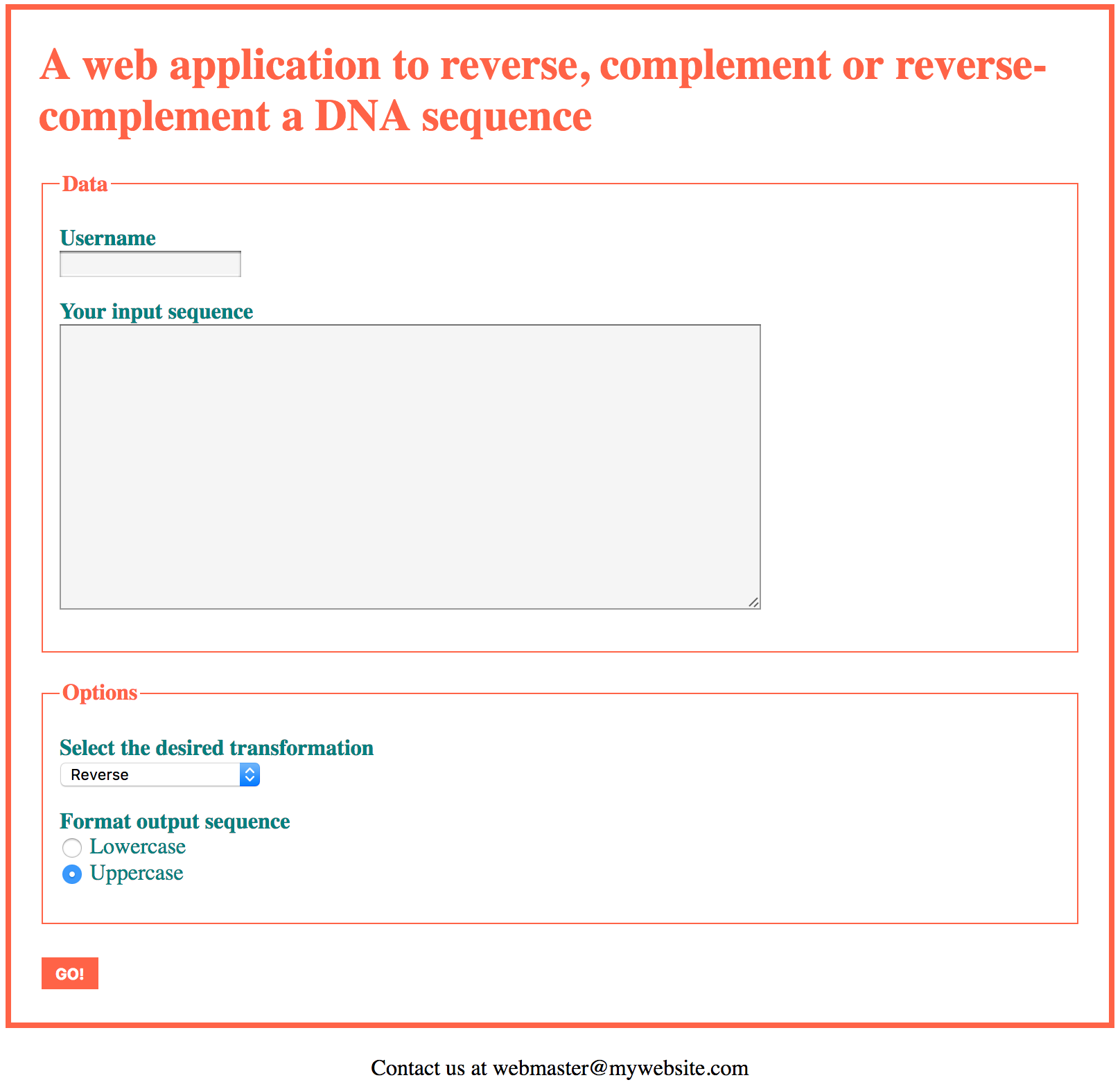 A web form for a reverse-complement web application