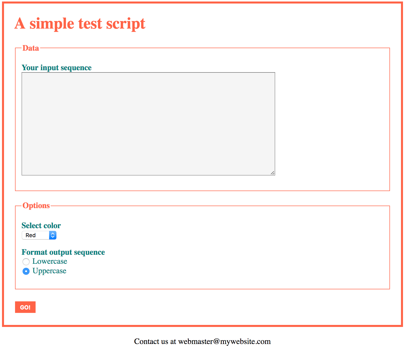 The web form of the sample script in this page