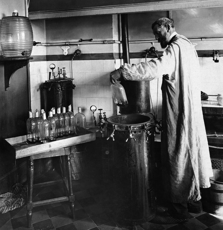 Louis Pasteur experimenting in his laboratory